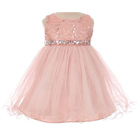 Baby Flower Girl Dress Lace Bodice Crystal Tulle Bottom Blush L MBK (Tulle Bottom)