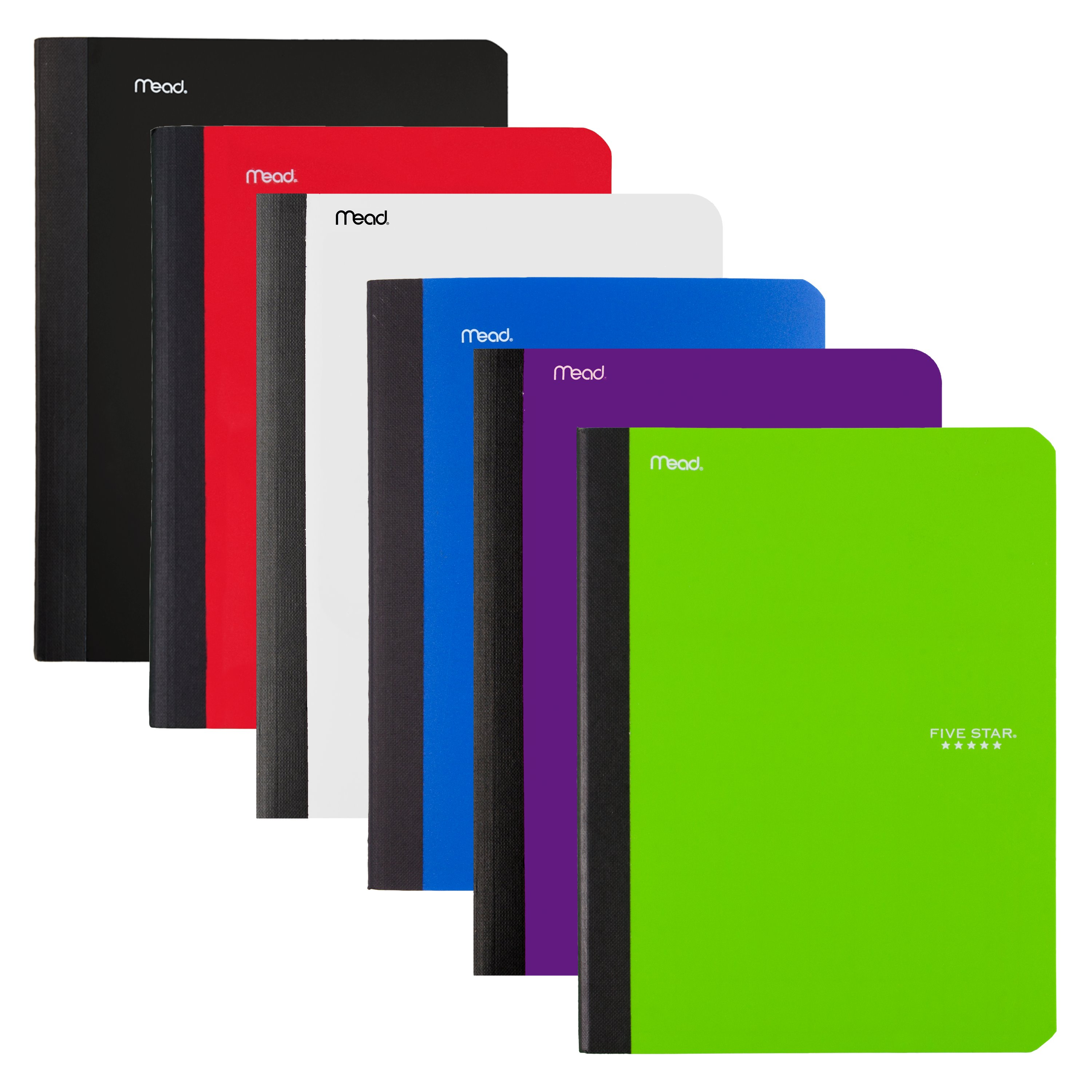 """Five Star Composition Book, College Ruled, 100 Sheets, 7 1/2"""" x 9 1/2"""", Assorted Colors, 6 Pack (72944)"""