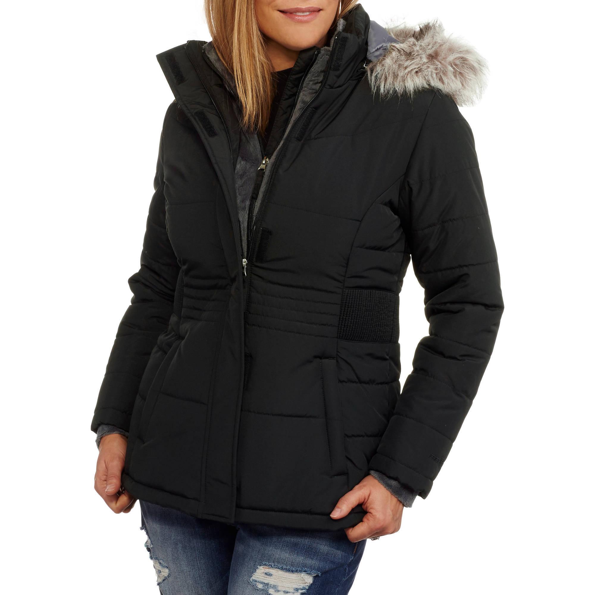 Women's Heavyweight Puffer Coat With Faux Fur Trim ...