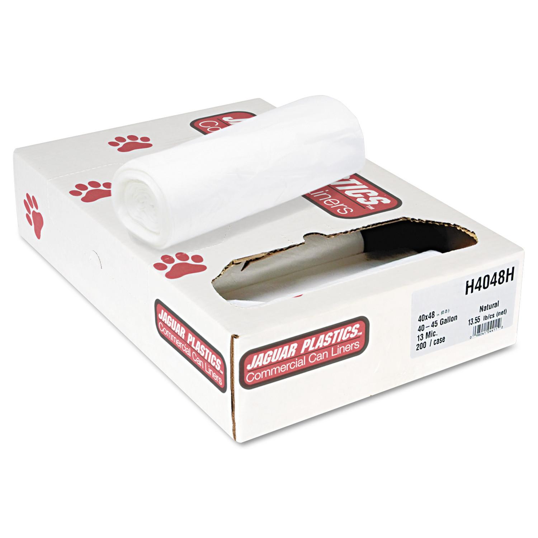 Jaguar Plastics Heavy Grade Natural Can Liners, 45 gal, 200 ct