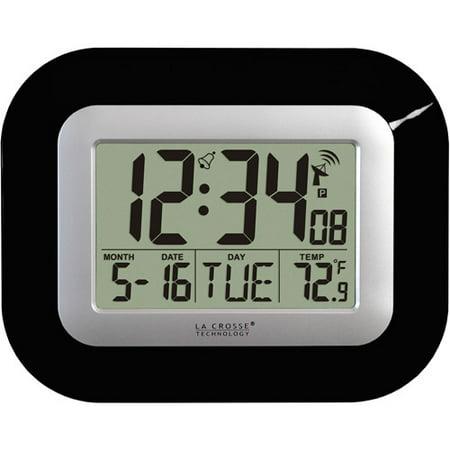 Black Indoor Clock - La Crosse Technology WT-8005U-B Atomic Digital Black Table/Wall Clock with Indoor Temperature