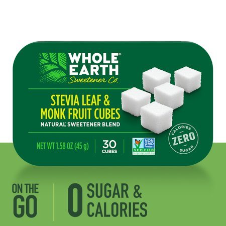 (30 Cubes) Whole Earth Sweetener Stevia Leaf and Monk Fruit Sweetener Cubes, Sugar