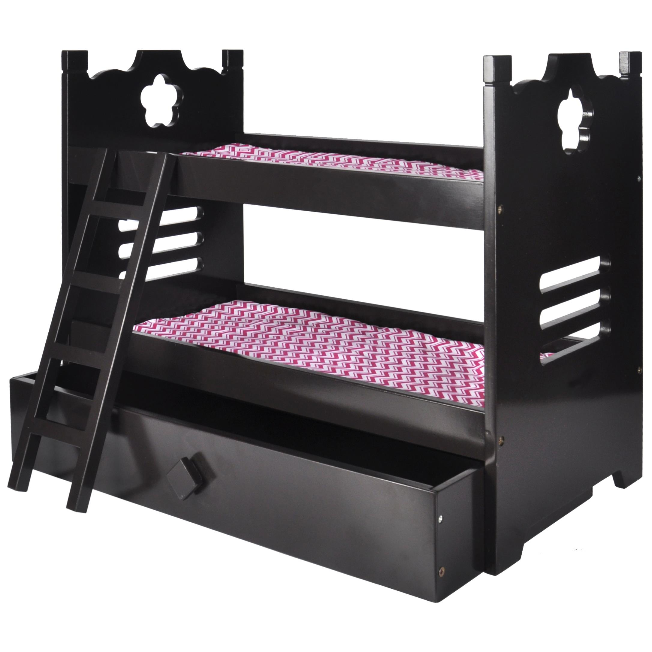 Naomi Home Kids Doll Bunk Bed with Trundle Finish:Espresso