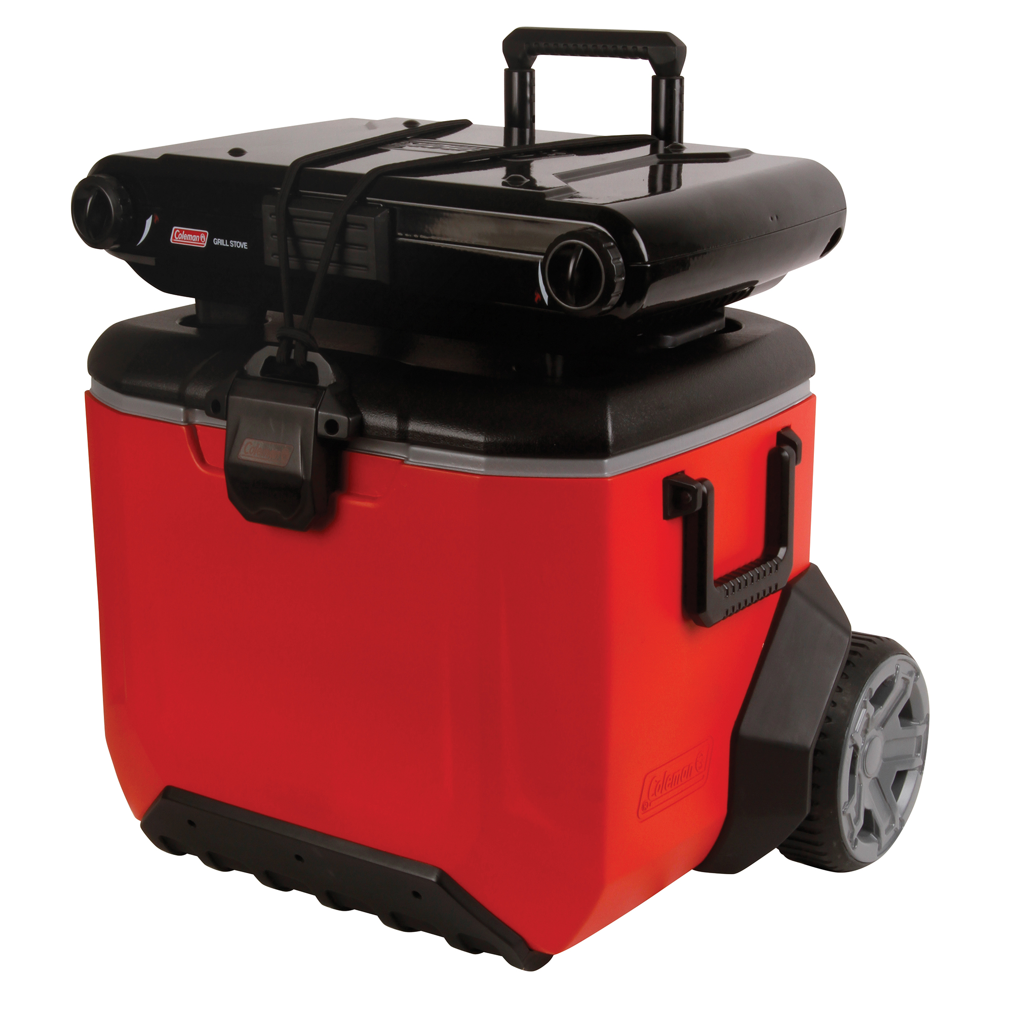 Coleman Wheeled Rugged Chest Cooler 55 qt with Handle Heavy Duty Lid Latch Drain