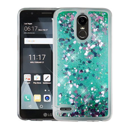 LG Stylo 3 Case, LG Stylo 3 Phone Case, by MyBat Hearts Glitter Hard  Plastic/Soft TPU Rubber Case Cover For LG Stylo 3, Green