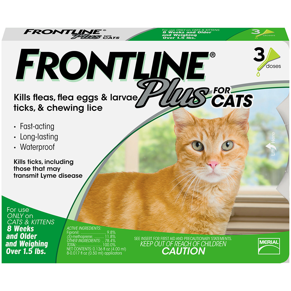 Frontline Plus Flea and Tick Prevention for Cats, 3 Doses