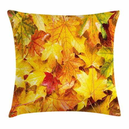 Ambesonne Fall Decor Wet Maple Leaves Square Pillow - Fall Leaves Decor