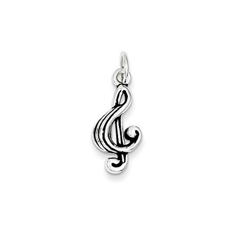 .925 Sterling Silver Antiqued Music Note Charm Pendant