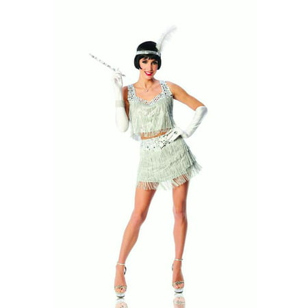 Razzle Dazzle Womens Adult Silver Roaring 20s Flapper Halloween Costume