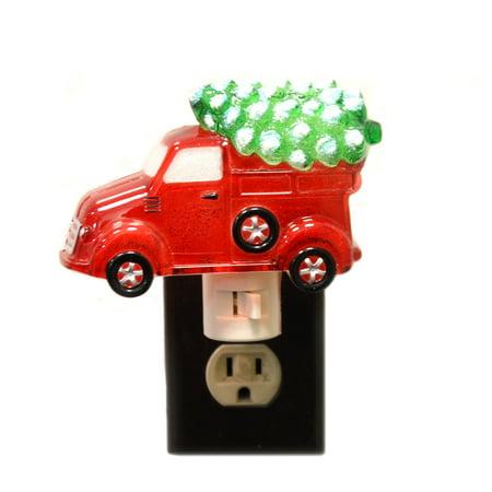 Christmas RED TRUCK NIGHTLIGHT Plastic Pickup Tree Holidays Electric 156699 ()