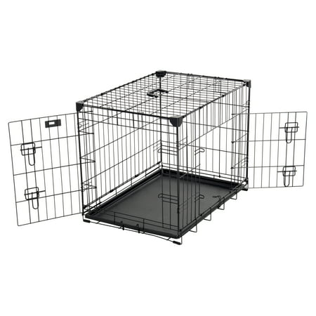 AKC® 24L x 18W x 21H Inch 2-Door Dog Training Crate with Corner Stabilizers, Rust-Resistant Wire, Handle, Leak-Proof Removable Pan, Free Training Guide