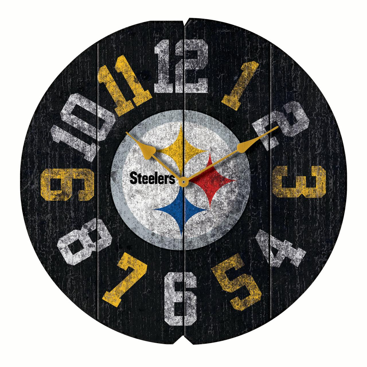 "Pittsburgh Steelers 16"" Vintage Round Wall Clock - Black - No Size"