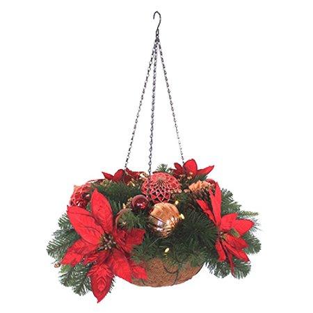 Led-light Hanging Poinsettia Basket, Battery-operated, 24