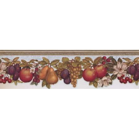 York Wallcoverings 15' L x 6.25'' W Fruits Apple Pear Plum Grapes Cherry Raspberry Flowers on Vine Beautiful Retro Design Wallpaper