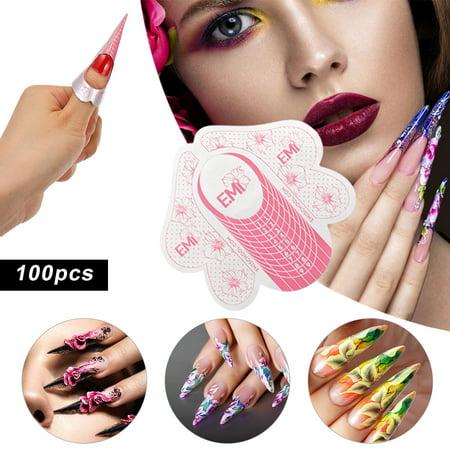 100pcs ongles forme autocollant ongles astuce pour acrylique UV gel ongles Guide d'extension forme auto-adhésive manucure bricolage outil - image 2 of 7