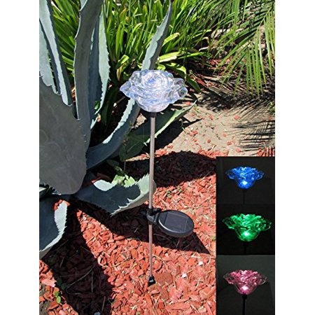 Exquisite Rose Flower Solar Garden Color Change Light set of 2, Crystal Clear Rose Flower Solar Powered Garden Yard Stake Light, have sedimen stem will light up By Ntertainment House ()