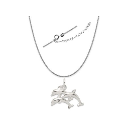 Sterling Silver Dolphins Charm on a 0.90mm Box Chain Necklace, 18