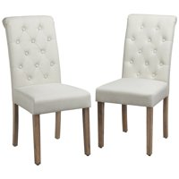 Deals on SmileMart Comfort Upholstered Tufted Dining Chairs, Set of 2