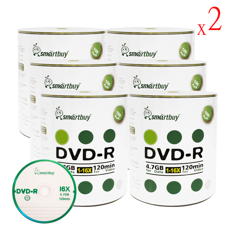 1200 Pack Smartbuy 16X DVD-R 4.7GB 120Min Logo (Non-Printable) Data Blank Media Recordable Disc