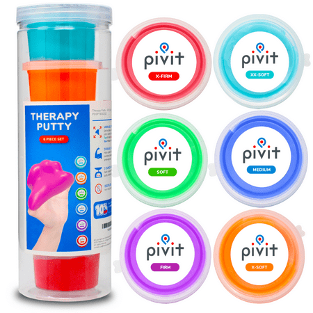 Pivit Exercise Putty (18 oz) | Therapeutic, Occupational and Therapy Tool | Thinking and Stress | Finger, Hand Grip Strength Exercises | Extra Soft, Soft, Medium, Firm (Pack of 6)