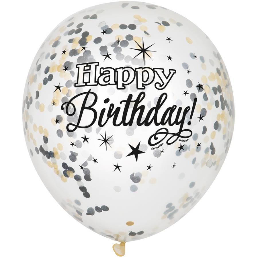 "12"" Silver Glittering Birthday Confetti Balloons, 6ct"