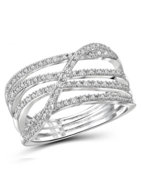 Diamond Accent Crossover Open Ring
