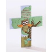 """7"""" Orange and Brown Earthy Baby Owl Wall Cross with Religious Verse"""