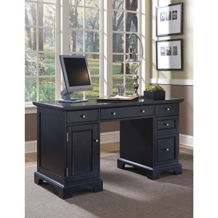 Modern Transitional Black Wood Pedestal Executive Writing Desk with 2 Utility and 1 File Drawer - Includes Modhaus Living Pen Drawer Pedestal Executive Desk