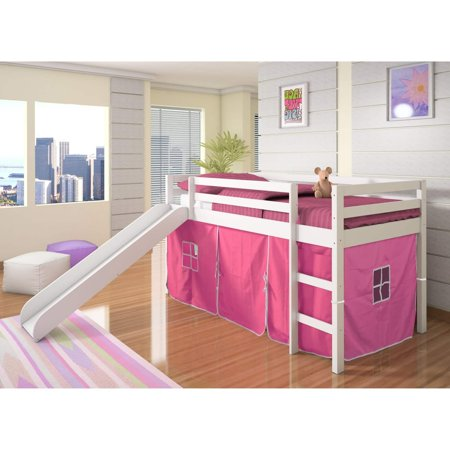 Donco Kids Mission Low Slide Loft-Color:White,Size:Twin,Style:PINK TENT