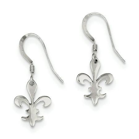 Sterling Silver Polished Fleur De Lis Dangle Earrings (1.1IN x 0.4IN (Sterling Silver Dangling Dolphin)