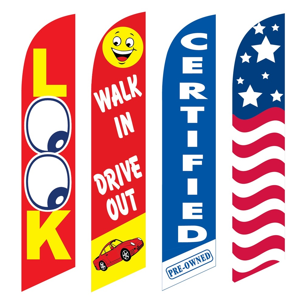 4 Advertising Swooper Flags Look Walk In Drive Out Certified USA