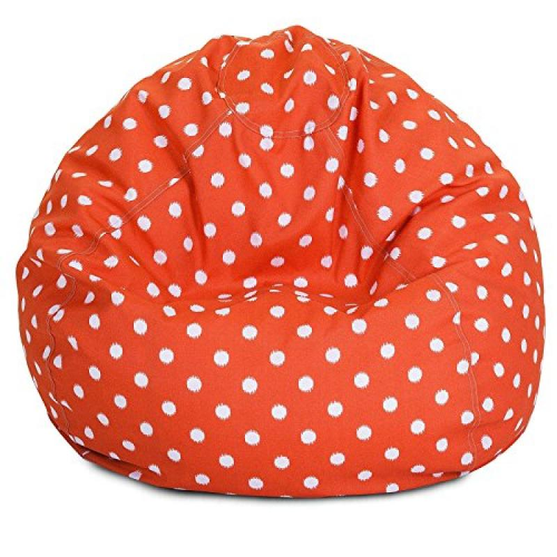 Majestic Home Goods Classic Bean Bag Chair - Ikat Dots Giant Classic Bean Bags for Small Adults and Kids (28 x 28 x 22 Inches) (Orange)