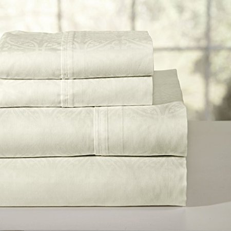 Pointehaven 300 Thread Count Printed Sheet Set, Full, Bone