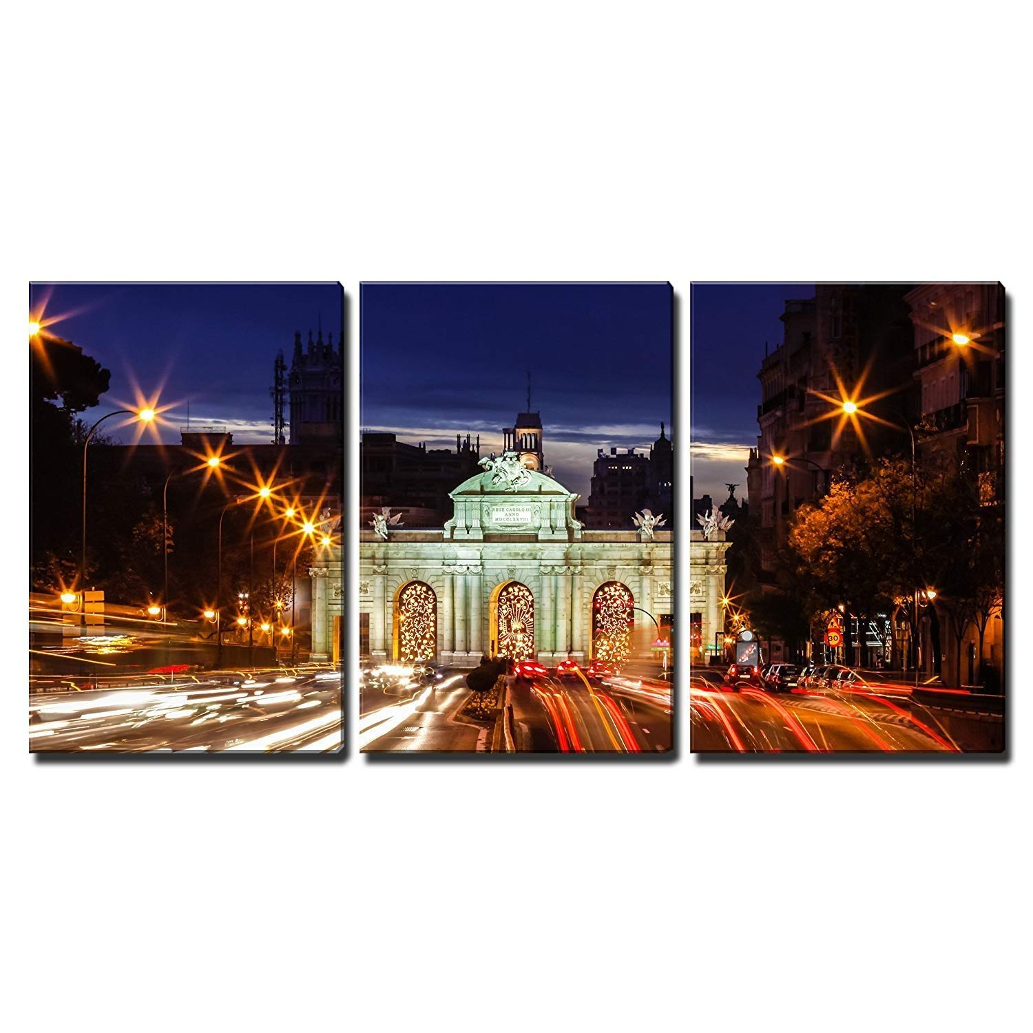 "wall26 - 3 Piece Canvas Wall Art - Monument in The Plaza De La Independencia Independence Square in Madrid, Spain - Modern Home Decor Stretched and Framed Ready to Hang - 24""x36""x3 Panels"