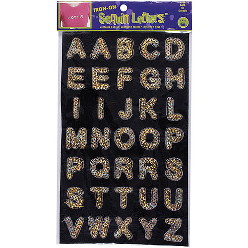 "Dritz Iron-On Sequin Letters, 1"" Block, Gold"