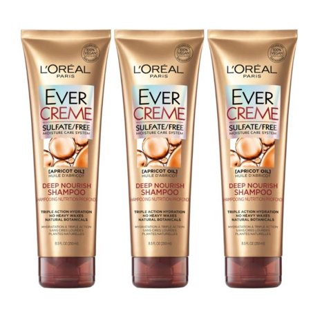 LOreal Paris EverCreme Deep Nourish Shampoo, Triple Action Hyrdration, 8.5 FL OZ, 3 Pack