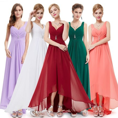Ever-Pretty Womens Sexy Deep V-Neck Long Maxi High-Low Formal Evening Bridesmaid Party Prom Dance Dresses for Women 09983 Burgundy US 4