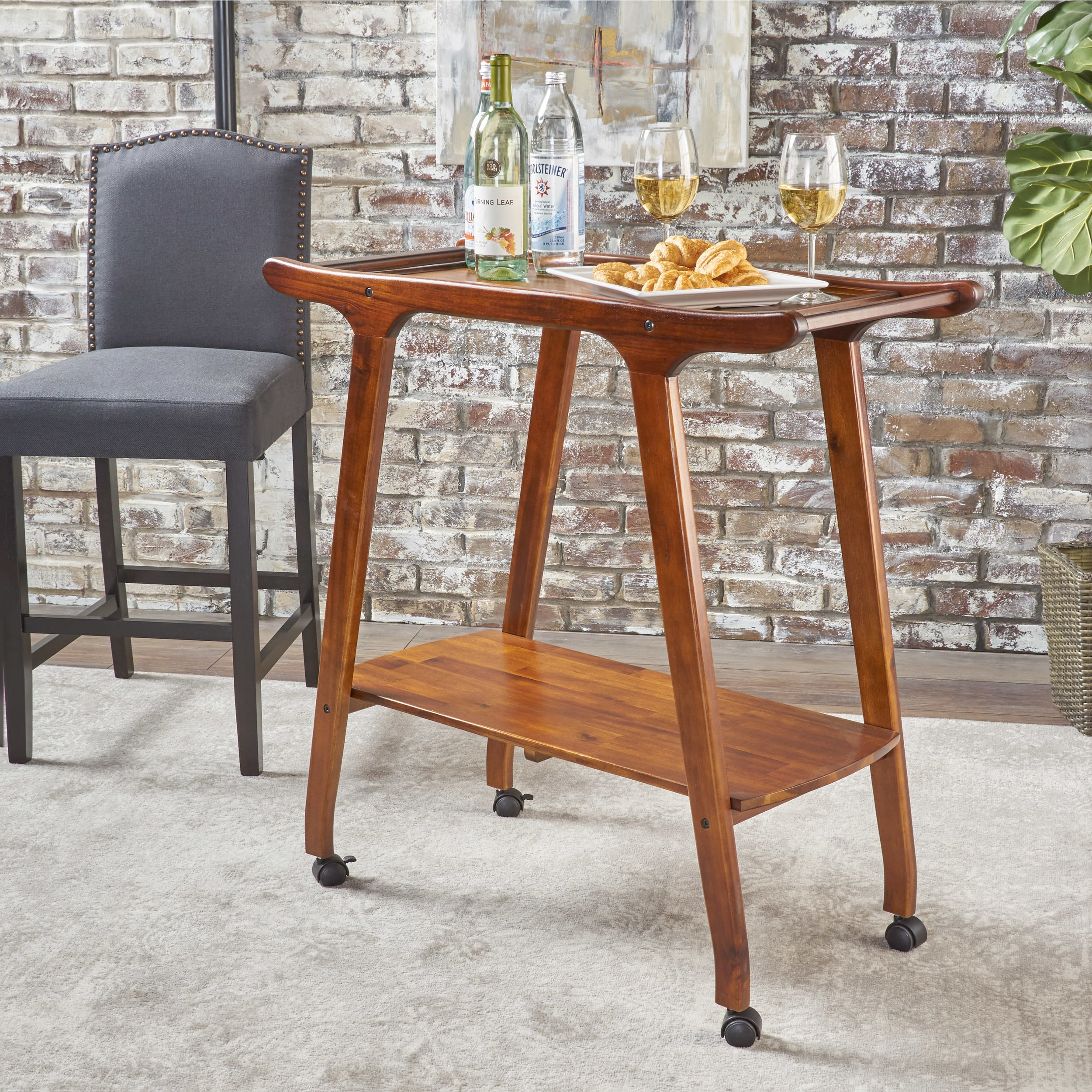 Christopher Knight Home Cadman Mid-century Modern  Acacia Wood Bar Cart by