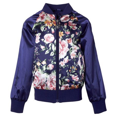 Girls' Floral Print Satin Bomber Jacket