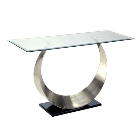- Kingfisher Lane Glass Top Console Table in Satin Plated