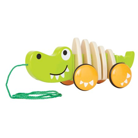 Hape - Wooden Walk-A-Long Croc Pull Toy with Rubber-Rimmed Wheels