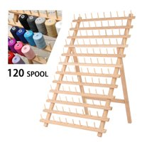 Foldable Thread Rack Wood Thread Holder 120 Spool Thread Wooden Storage Rack Thread Spool Stand Sewing Cone Storage Organiser Quilting Embroidery Bobbin Orgainzer&Rack Sewing Craft