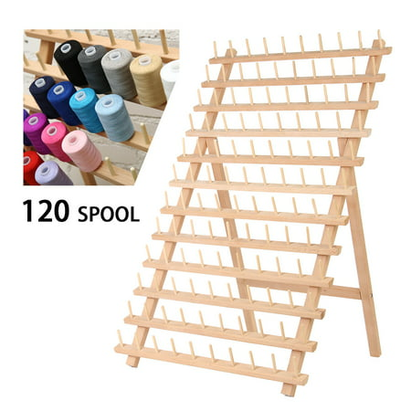 120 Spool Foldable Thread Rack Wood Thread Holder Thread Wooden Storage Rack Thread Spool Stand Sewing Cone Storage Organiser Quilting Embroidery Bobbin Orgainzer&Rack Sewing Craft (Metal Quilting Thread)