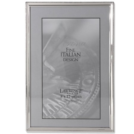 Polished Silver Plate 8x12 Picture Frame - Bead Border Design ()