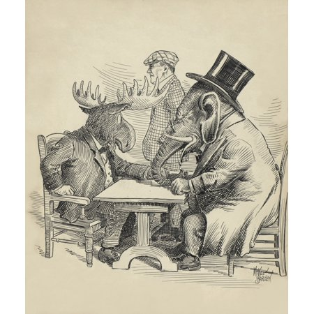 Political Cartoon About The 1912 Presidential Election By Barclay Mckee The Republican Elephant Conferences With Theodore Roosevelts Rebellious Bull Moose