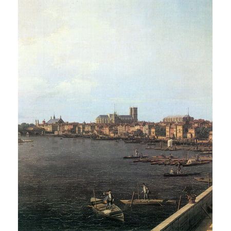 London Terrace (Framed Art for Your Wall Canaletto (I) - seen London, Thames from the terrace of Somerset House from the background Westminster Bridge, detail 10 x 13)