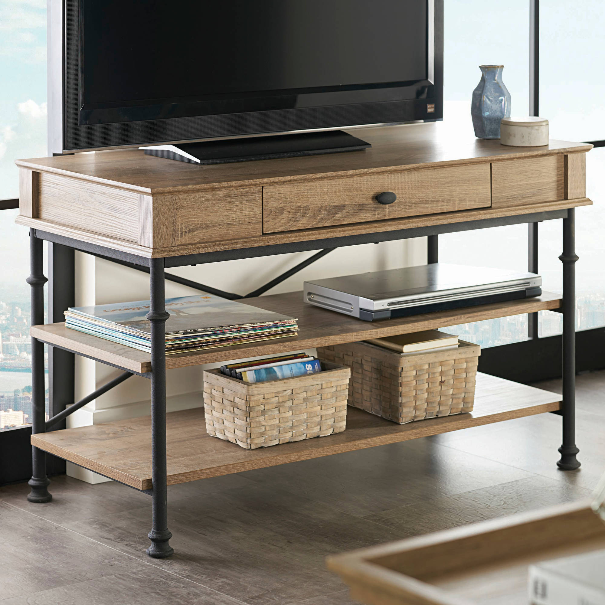 Better Homes And Gardens River Crest Entertainment Center Bundle For Tvs Up To 42 Rustic Oak