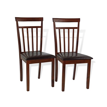SK New Interiors Set of 2 Warm Solid Wood Dining Kitchen Side Chairs w/Padded Seat, Dark Walnut
