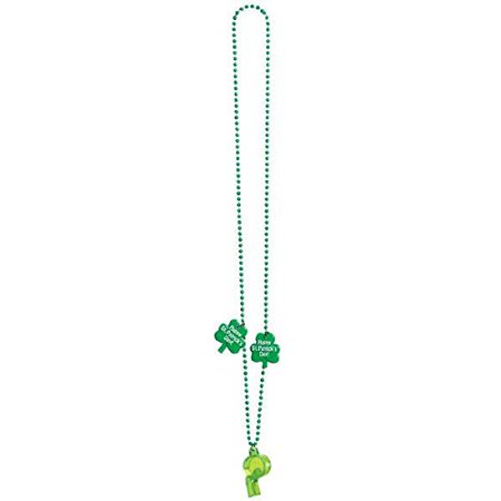 Wee willy St. Patrick's Day Party Bead Necklace with Plastic Whistle , Green, Plastic , 20