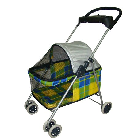 New BestPet Yellow Plaid Posh Pet Stroller Dogs Cats w/Cup